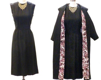 Vintage 60s Dress and Coat, 1960s Black Sheath Dress Suit, Mad Men Fall Fashion, Medium