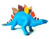 Hand Painted Blue Stegosaurus Dinosaur Toy Collectible Figurine