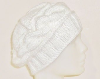 Woman Winter Hat Hand Knit Women Hat Beanie in White Hat Women