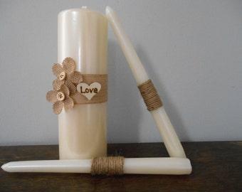 Rustic Wedding Unity Candle Set Ivory or White Burlap and Twine Personalized Burlap Flowers