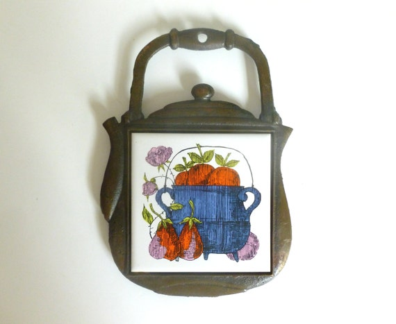 Vintage 1970 39 S Metal Ceramic Tile Teapot Fruit And By