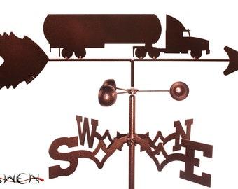 Hand Made Oil Tanker Semi Truck Weathervane NEW