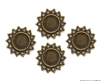 Set of 4.... Antique Brass Base Metal STAR Circle ....Connector..Cameo...Cab.......Frame Settings...Circle round 12mm  23mm