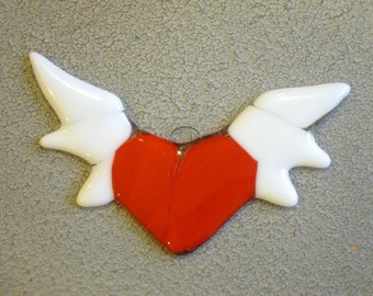Winged Heart Christmas Ornament Fused Glass Ornament Red Heart Sun Catcher Handmade