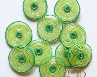 Green Lampwork Glass Beads, FREE SHIPPING, Handmade Lampwork Spiral Disc Beads - Rachelcartglass