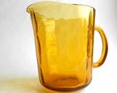 Retro Rare Oval Thumbprint Amber Glass Pitcher