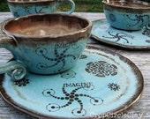MADE TO ORDER Ceramic Soup Mug Sandwich Plate Set - Wheel Thrown Pottery Soup Mug Shabby Chic Blue Brown Rustic Inspirational
