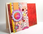 Congrats Kinda Awesome Super Sparkly Red Yellow Orange and Pink Handmade Card