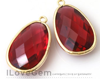 50% OFF Clearance// NP-1486 Gold Plated, Ruby, Framed Glass, Big oval, Pendant, 2pcs / Framed glass, Glass pendant