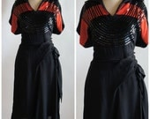 Reserved for Caroline ON SALE 1940's Red & Black Sequin Cocktail Dress //  LARGE /Xl
