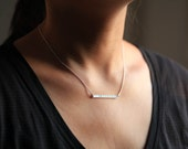 Bar necklace, name necklace, dainty necklace, personalized jewelry - sterling silver necklace
