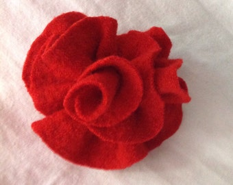 Christmas red wool felted red flower pin Accessory true red brooch Upcycled merino wool hand made by mcleodhandcraftgifts