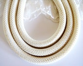 Braided Trim Rope Cord, Semisoft Climbing Cord, Ivory, Striped String Round Cord 9-10mm approx. - 1Yard/ 92cm (1 piece)