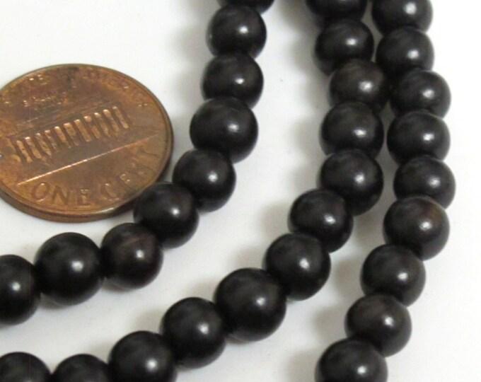 20 Beads - Small 6 mm size Black ebony wood beads - 6 mm - NB039A