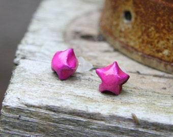 Waterproof Origami Star Stud Earrings - Metallic Pink