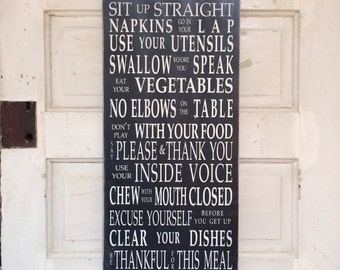 Table Manners Dinner Rules Wooden Painted Sign -  Typography Word Art in Black