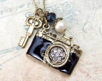 Camera Necklace , Key Necklace, Friendship Necklace, Gift Idea, Handmade Necklace, Bridesmaid Gift, Best Friend Gift, Charm Necklace