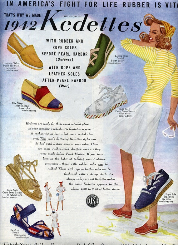 1942 Kedettes Shoe Ad Ladies Summer Style Shoes United