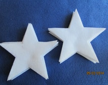 "4"" Large White Felt Star- Super Hero Costume-Die Cut Stars-Decorations-Cut Out Felt Stars-Baby Shower Favors-Party Decorations"