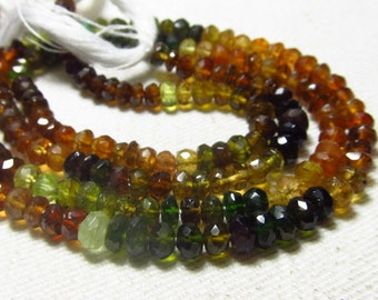 14 Inches - Micro Faceted AAA Petrol Tourmaline Rondell - -Micro Faceted Rondell -Rich Tourmaline - Size - 5 mm
