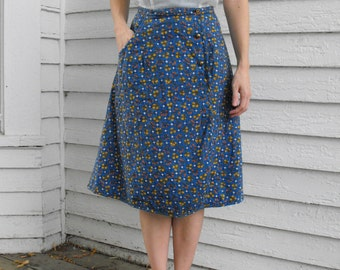 Blue Floral Skirt Quilted Wrap Vintage Casual XS 24 Waist
