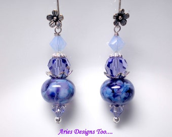 Blue Nebula...Lampwork Earrings in Mottled Shades of Blue and Violet