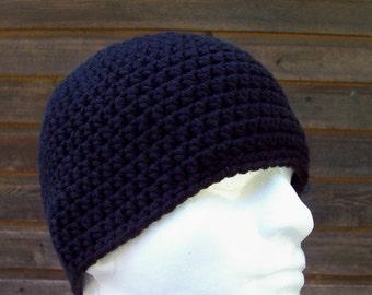 mens crochet beanie, hat, youth boys beanie, crochet hat, beanie, black beanie, menswear, mens fashion, vegan friendly,  youth adult 6597