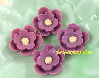 4pcs Little Cherry Blossom Cabochons - Amethyst Purple (076)