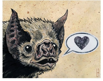 Vamipre Bat - 8x10 Art Print - Love