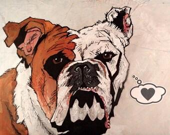 Bulldog - 8x10 Art Print - Love - Dog