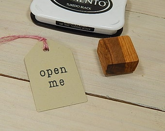 open me Olive Wood Stamp