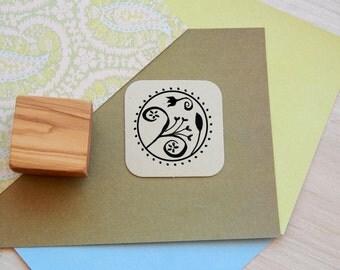 Minoan Flower Inspired Circular Olive Wood Stamp