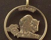 Kansas, Kentucky, Louisiana, Maine, Maryland State Quarter Hand Cut Coin Jewelry