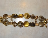 Beaded Interchangeable Double Stranded All Gold Watch Band, Gold Watch Band