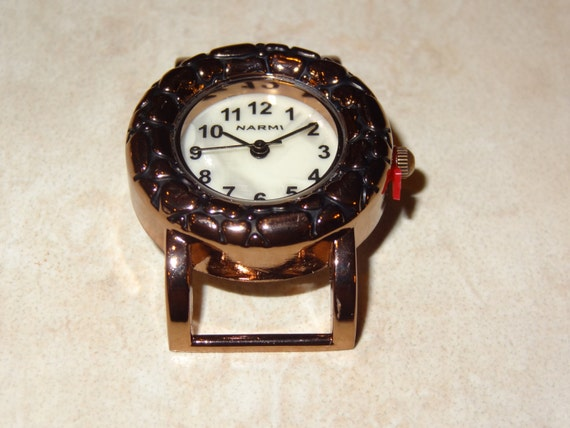 Bali Style, Heart, Solid Bar, Copper, Interchangeable, Round, Watch Face