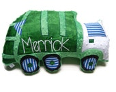 Garbage Truck Pillow, Trash Truck, Personalized, Custom Truck Plush Pillow, Toddler Plush Toy, Baby Shower Gift, Custom MADE TO ORDER