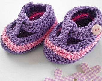 Baby girl t bar shoes - purple/ light pink stripe hand knit t bar baby shoes - 0-3 months