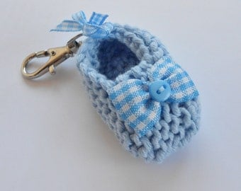Baby boy/ unisex shoe key ring - hand knit light blue baby shoe with white blue gingham bow - other colors available