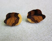 Post Earrings Desert Ironwood Exotic Wood Handcrafted WatercolorsNmore ecofriendly