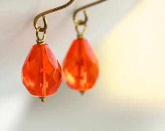 Orange Glass Earrings - 'Paradise Found'