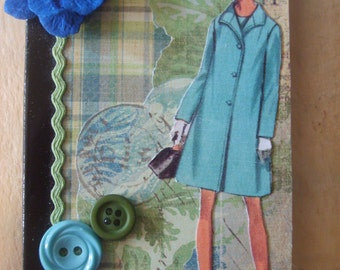 Vintage Inspired Fashion Lady Altered Mini Composition Book