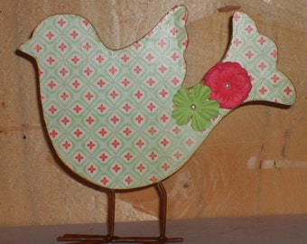 Altered Mint Green and Pink Decoupaged Wooden Bird