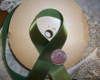 """6 yds. of olive vintage satin ribbon 1"""" wide"""