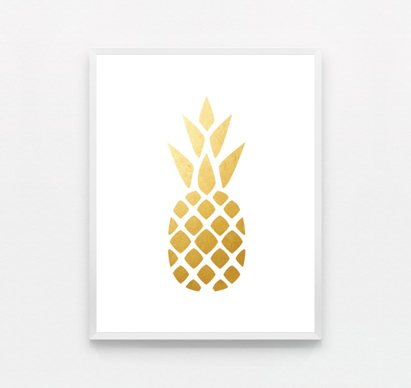 Kitchen Print Gold Pineapple Print Gold Pineapple By Fieldtrip