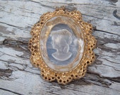 Vintage Reverse Carved clear glass cameo Pendant Victorian Steampunk bling
