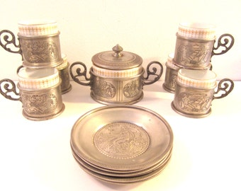 SALE! Antique T.Kronester Demi Cups & Sugar Bowl with Pewter Holders and Saucers