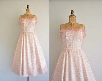 1950s style dress - 50s pink and sliver lace party dress - 50s strapless dress