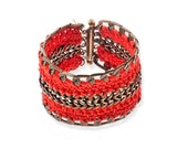 Red bracelet , wide cuff Crochet metal and yarn statement jewelry