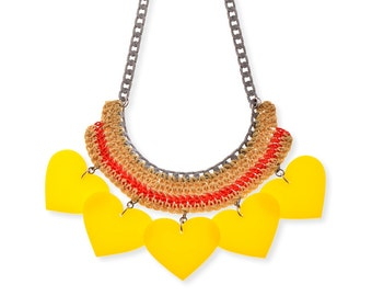Large Necklace, Yellow Heart Necklace, Plastic Bold Necklace, Chunky Red Necklace, Colorful Textile Necklace,  Yellow Statement Necklace