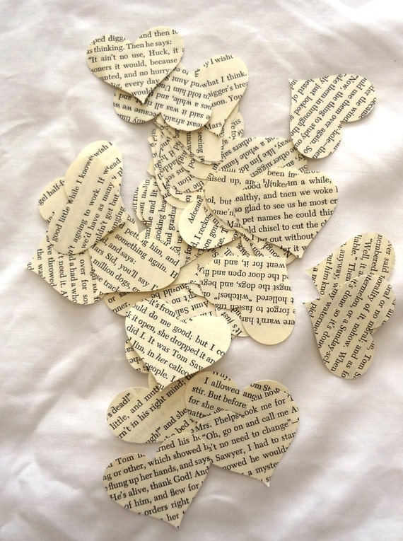 Vintage Book Page Heart Confetti,  Ephemera  for Altered Arts, Art Journals, Junk Journals, Smash Books, Collage, Table Decor